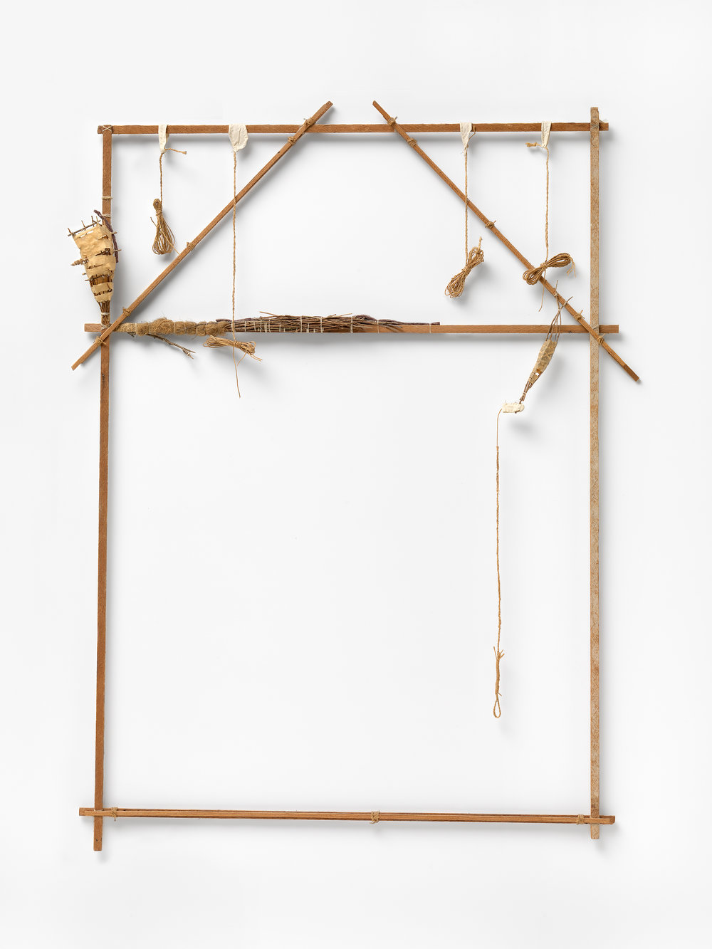 Image: John Davis,  Lean to , 1977, wood, twigs, paper, twine, cotton, underfelt and cloth, 142.8 x 106.4 x 9.7 cm