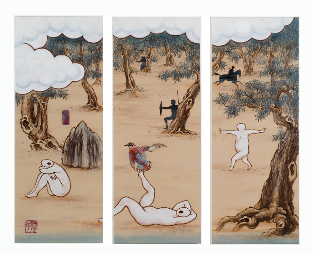 Guan Wei,  A Mysterious Land No. 10,  2007, acrylic on canvas, 130 x 162 cm (3 x panels).