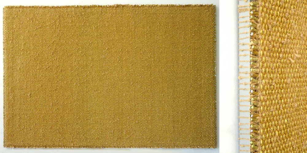 DANI MARTI   The Story of I Am (Gold) [full and detail view] 2017 polyester, polypropylene, metallic thread, sisal rope on aluminium frame 70 x 255 x 5 cm