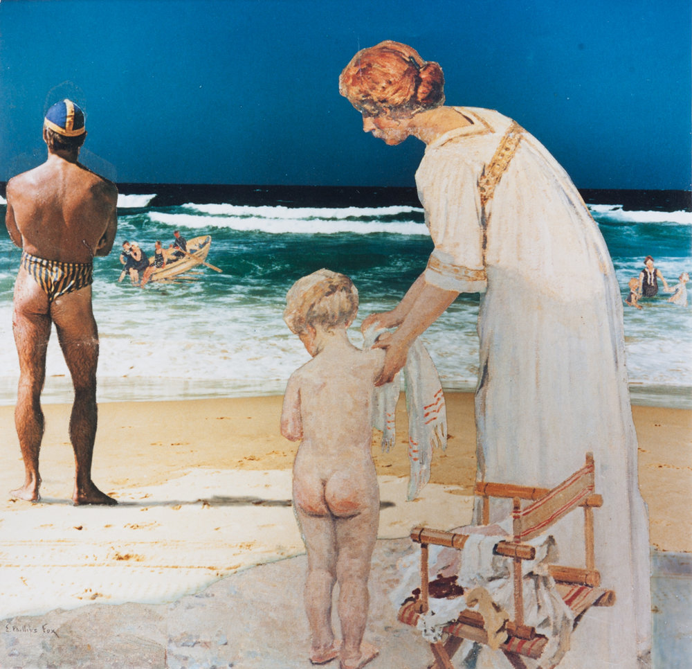 ANNE ZAHALKA   On The Beach  1985 Type C Print 27cm x 26.5cm