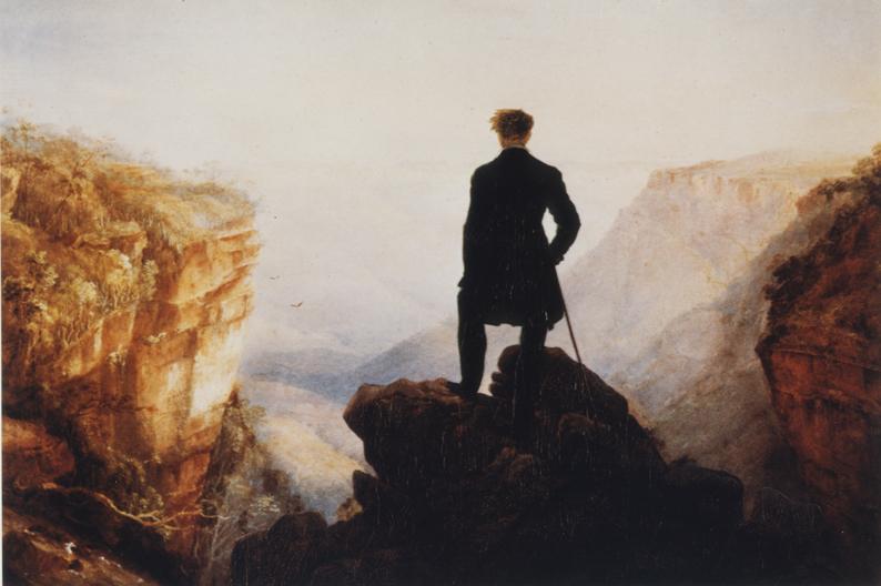 ANNE ZAHALKA   Wanderer overlooking Jamieson Valley  1985 Type C print 21.6 x 32 cm