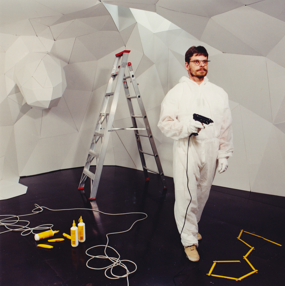 ANNE ZAHALKA   artist #13 (Horst Kiechle)  1998 Duraflex print mounted onto perspex with engraving 85cm x 87cm