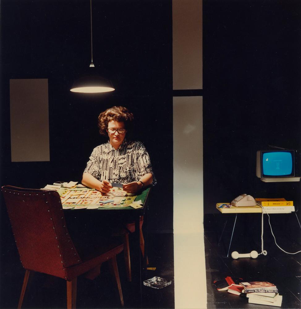 ANNE ZAHALKA   Artist #31 (Kim Donaldson)  1989 Duraflex print mounted onto perspex with engraving 85cm x 87cm