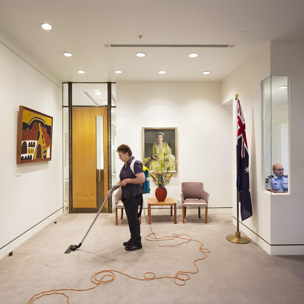 ANNE ZAHALKA   Cleaner and Australian Federal Police Officer, Prime Minister's Office  2014 Inkjet print 80cm x 80cm