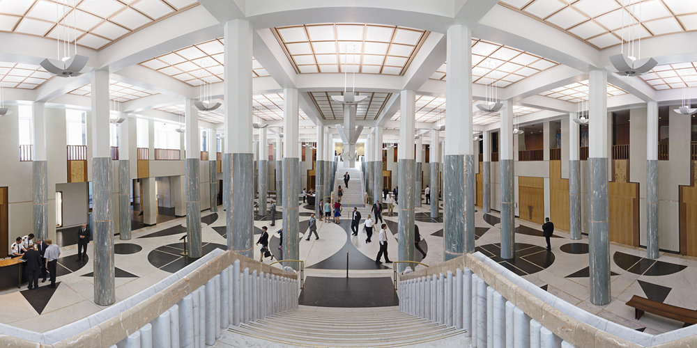 ANNE ZAHALKA   Marble Foyer, Parliament House  2014 Inkjet print 80cm x 160cm