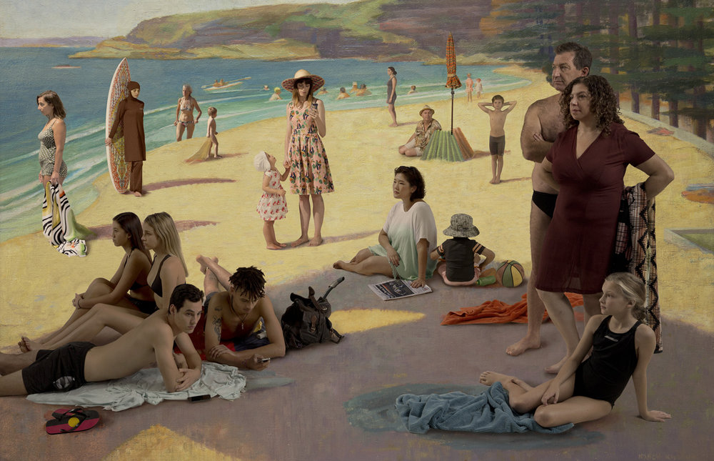 ANNE ZAHALKA   Untitled, Figures on Manly Beach (after Nancy Kilgour)  2015 Archival pigment ink 92cm x 130cm and 76cm x 115cm