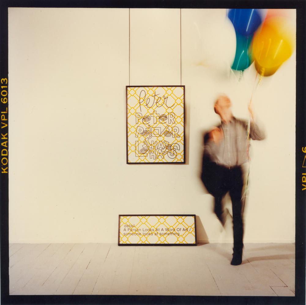 ANNE ZAHALKA   artist #1b (Peter Tyndall)  1989 Duraflex print mounted onto perspex with engraving 85cm x 87cm
