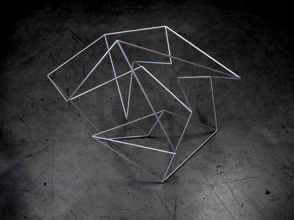 Robert Owen,  Third Movement #1  (from the series  Thought Forms ), 2015, painted stainless steel, 64 x 74 x 58,83 x 57 x 46cm.