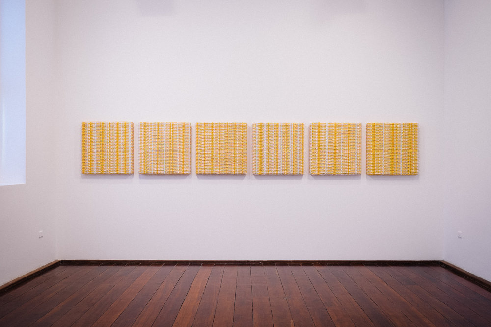 DANI MARTI   Notes for Bob (take 1–6)  2013 Polyester and nylon on wood frame 60 x 60 x 7cm (each)