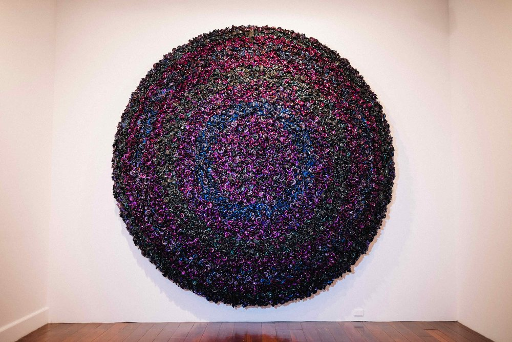 DANI MARTI   Prelude 2015  2015 Customized corner cube reflectors and glass beads on aluminium frame 345cm diameter x 50cm depth
