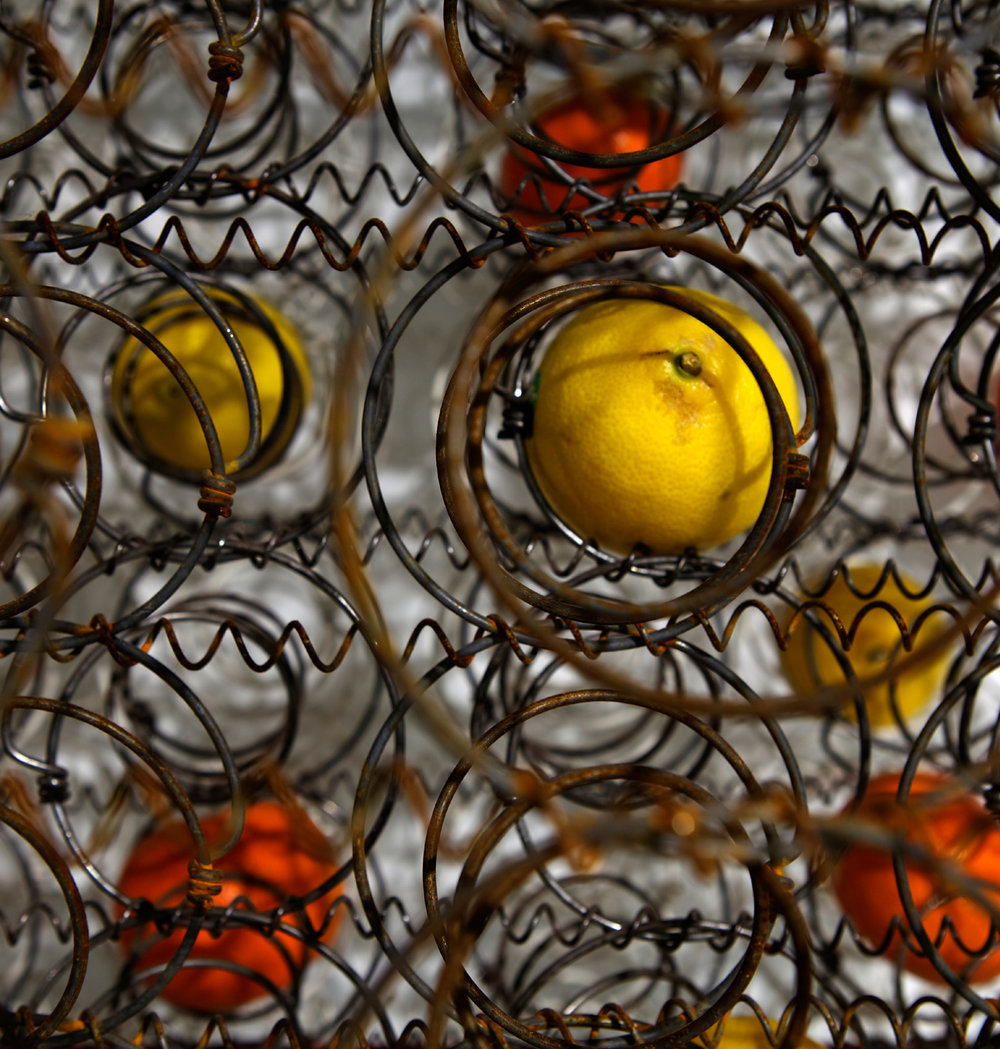 DANI MARTI   Still life in yellow, steel and mandarins  (detail) 2016 Mattress frames, mandarins, lemons 202 x 150 x 275 cm