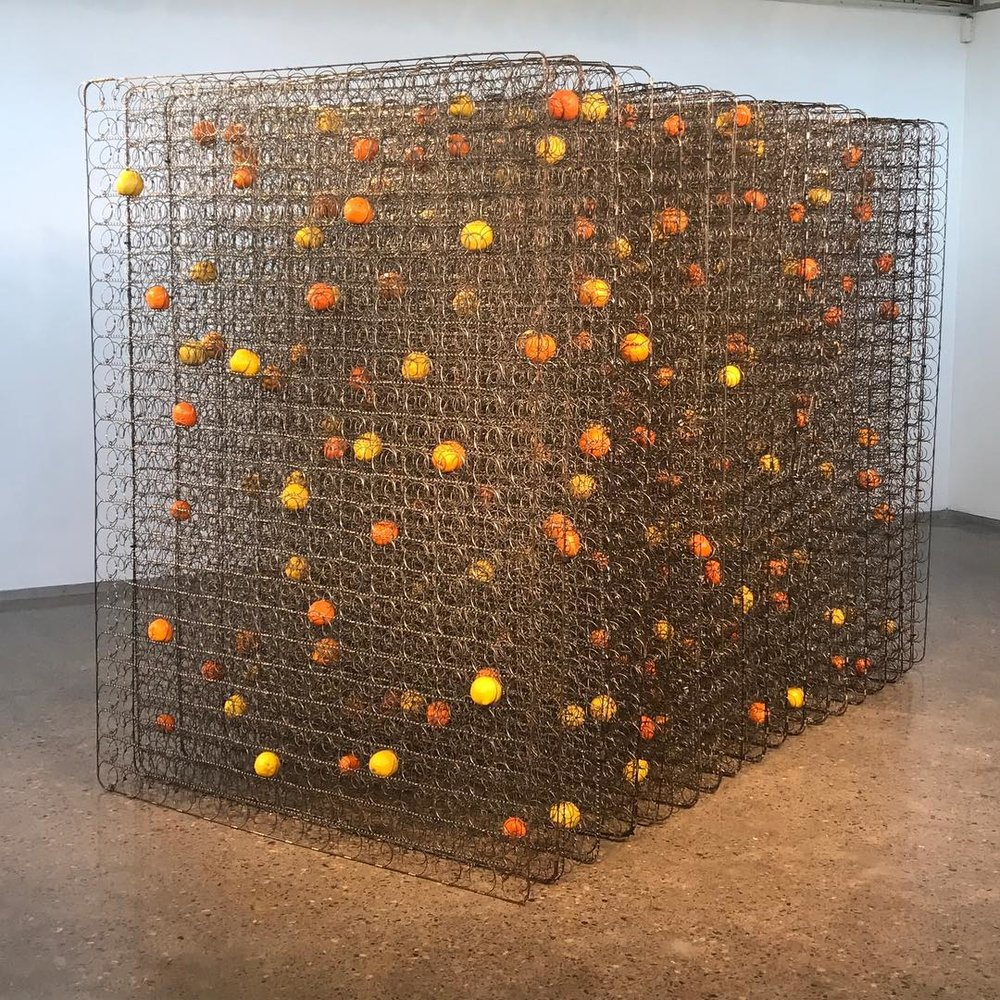 DANI MARTI   Still life in yellow, steel and mandarins  2016 Mattress frames, mandarins, lemons 202 x 150 x 275 cm