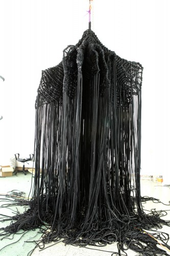 DANI MARTI   Armour 4, a bad night  2013–14 rope and leather 330 x 200 cm diameter