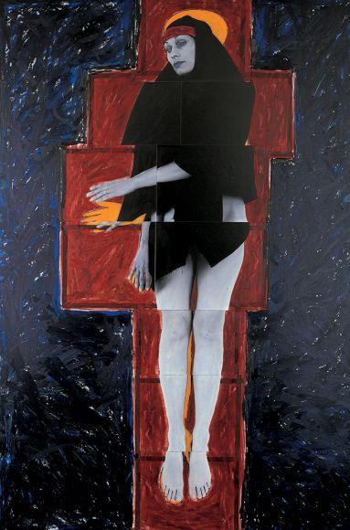 JULIE RRAP   Persona and Shadow Madonna  1984 Cibachrome print 194 x 105 cm