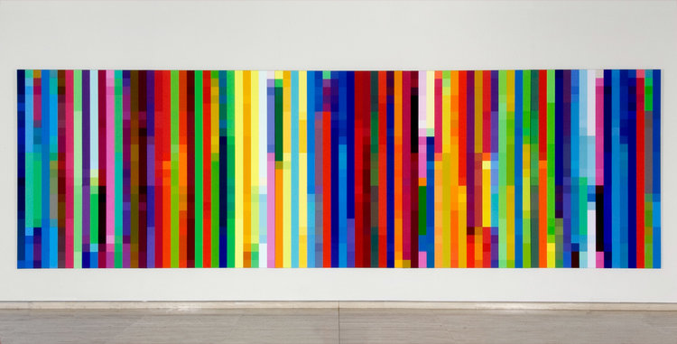 ROBERT OWEN   Cadence #1 (a short span of time)  2003 Synthetic polymer painting on canvas, five panels 259 x 167.6 cm each 59 x 838 overall