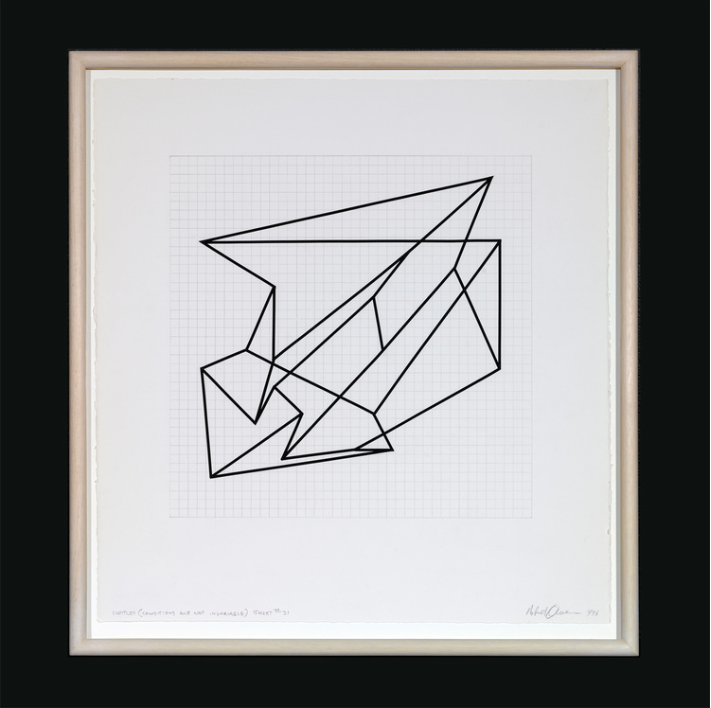 ROBERT OWEN   Untitled (Conditions are not invariable)  1997 - 2003 Pencil and tape on Aquarelle Arches paper 60 x 57 cm