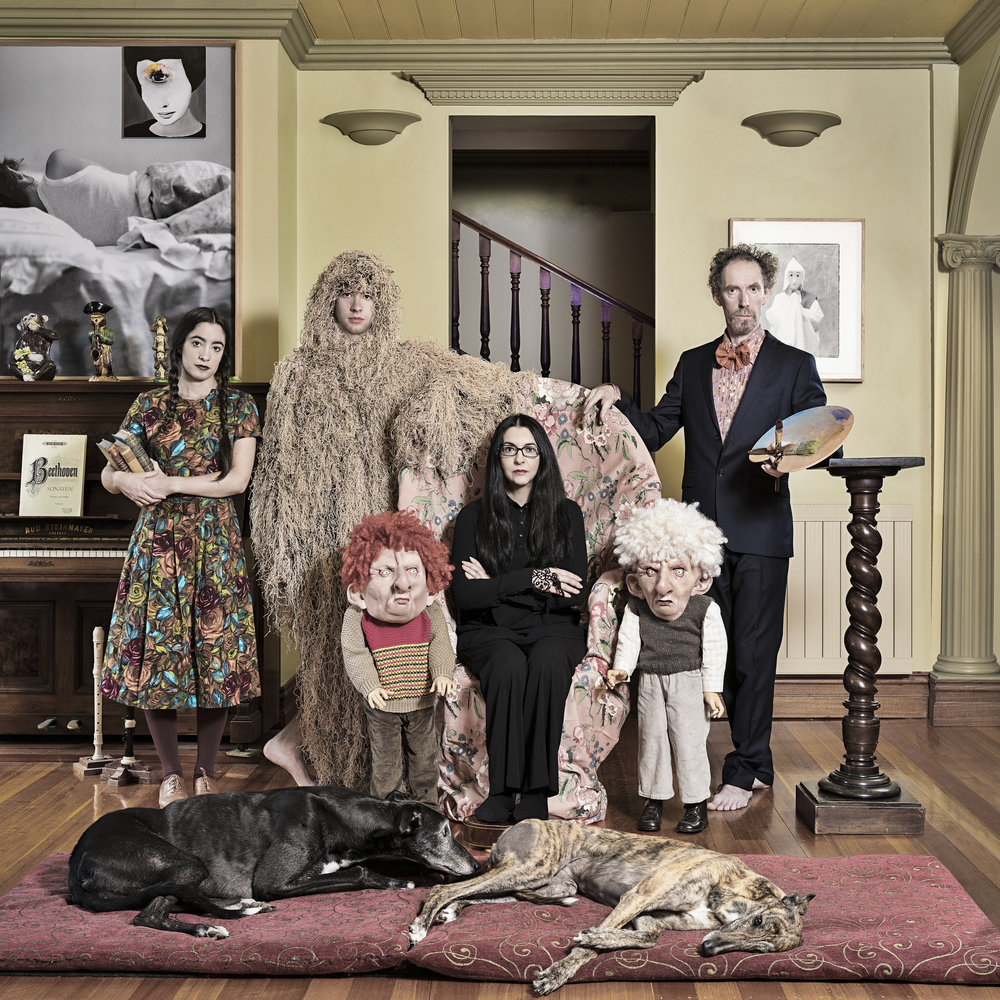 Anne Zahalka, The Papapetrou Family, 2017, dye sublimation on chromalux metal, 80 x 80 cm.