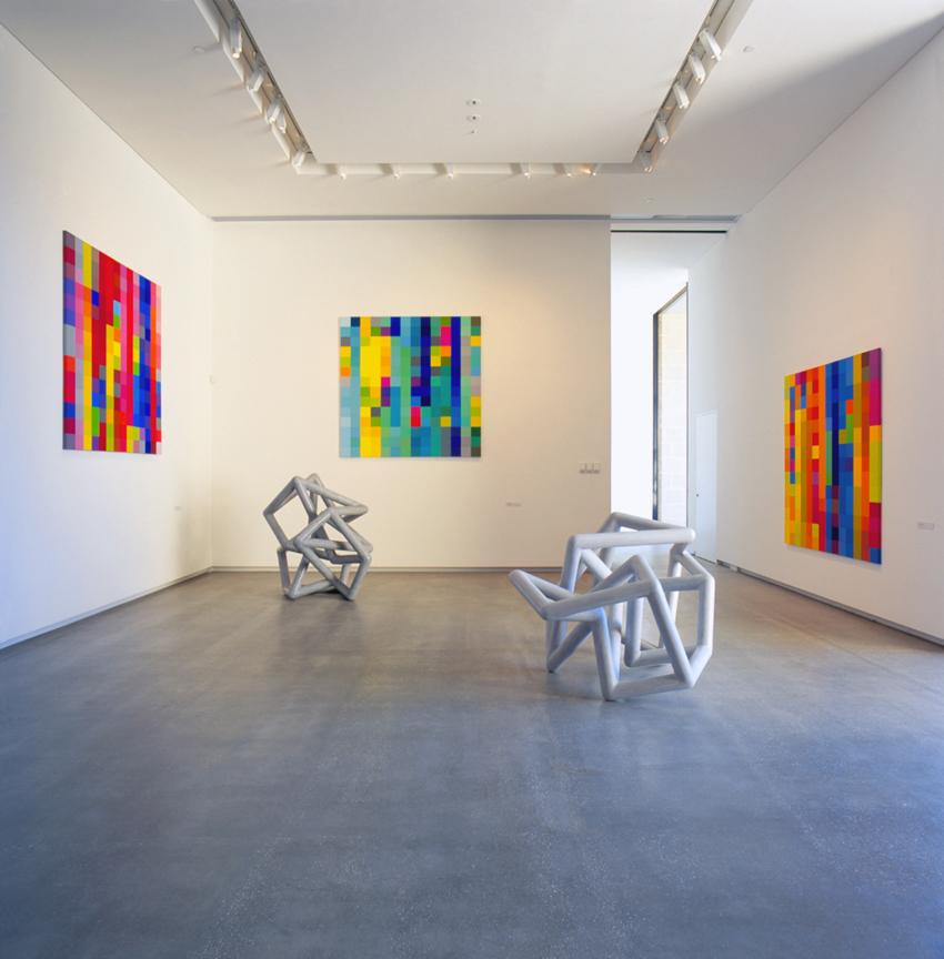 ROBERT OWEN   Text of Light  (Installation View)  Messenger, Symmetria, Blind Spot, Afternoon Glow #2  and  Slippage