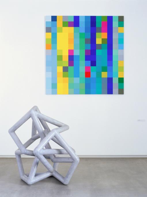 ROBERT OWEN   Messenger  2003 Foam, Fiberglass and M1 Acrylic 140 x 130 x 160 cm  Blind Spot  2003 Synthetic polymer paint on linen 198 x 198 cm