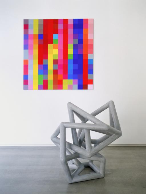 ROBERT OWEN   Symmetria  2003 Foam, Fiberglass and M1 Acrylic 140 x 130 x 160 cm  Slippage  2003 Synthetic polymer paint on linen 198 x 198 cm
