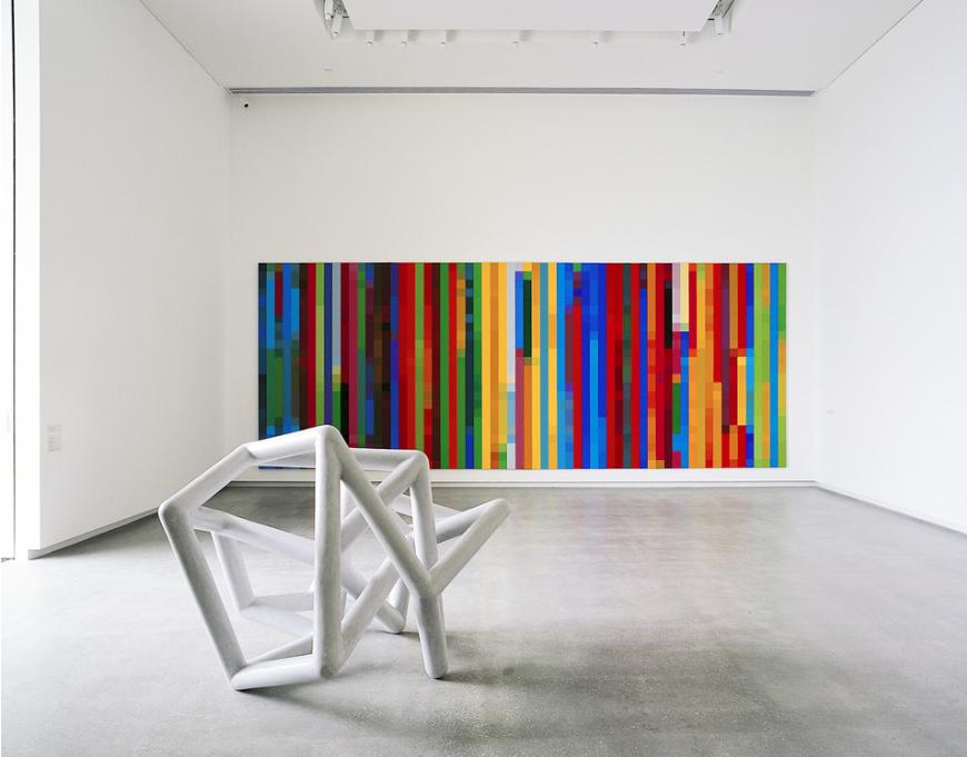 ROBERT OWEN   Messenger  2003 Foam, Fiberglass and M1 Acrylic 130 x 160 x 140 cm  Cadence #1 (A short span of time)  2003 Synthetic polymer paint on canvas Four panels 259 x 167.6 cm each