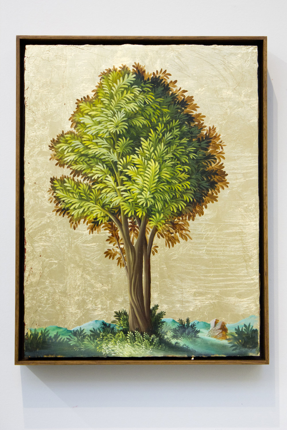 PETER DAVERINGTON   Portrait of a Tree #2  2017 Oil and gold leaf on panel 41 x 31 cm Frame: 43 x 33 cm