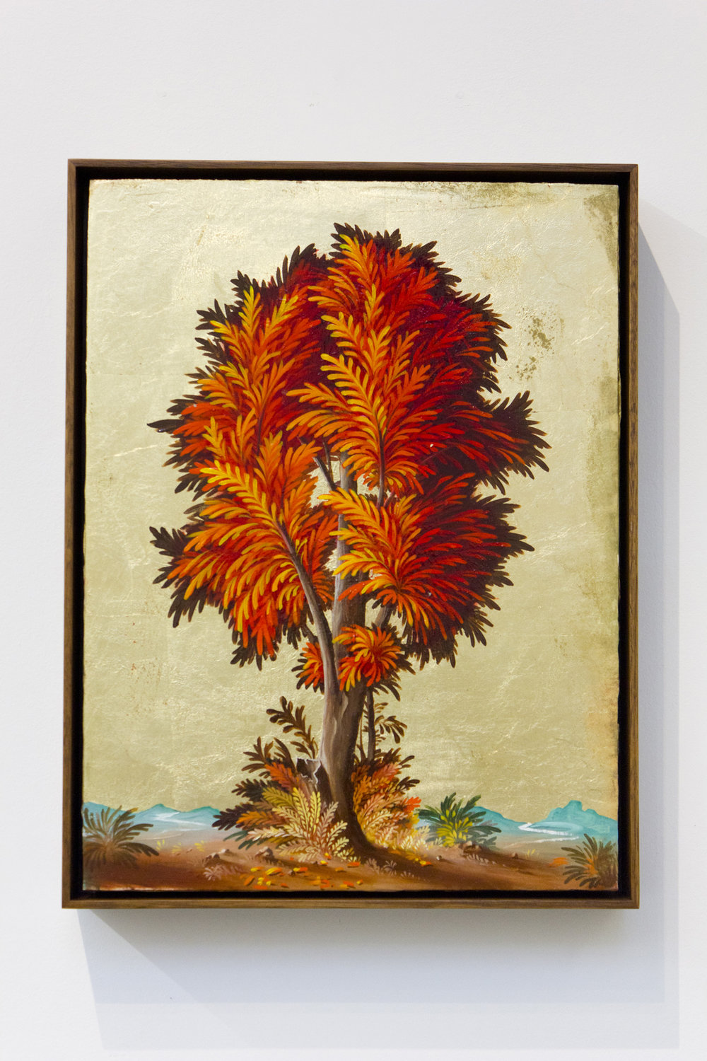 PETER DAVERINGTON   Portrait of a Tree #4  2017 Oil and gold leaf on panel 41 x 31 cm Frame: 43 x 33 cm