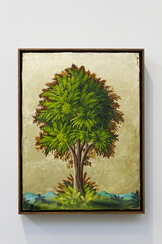 PETER DAVERINGTON   Portrait of a Tree #3  2017 Oil and gold leaf on panel 41 x 31 cm Frame: 43 x 33 cm