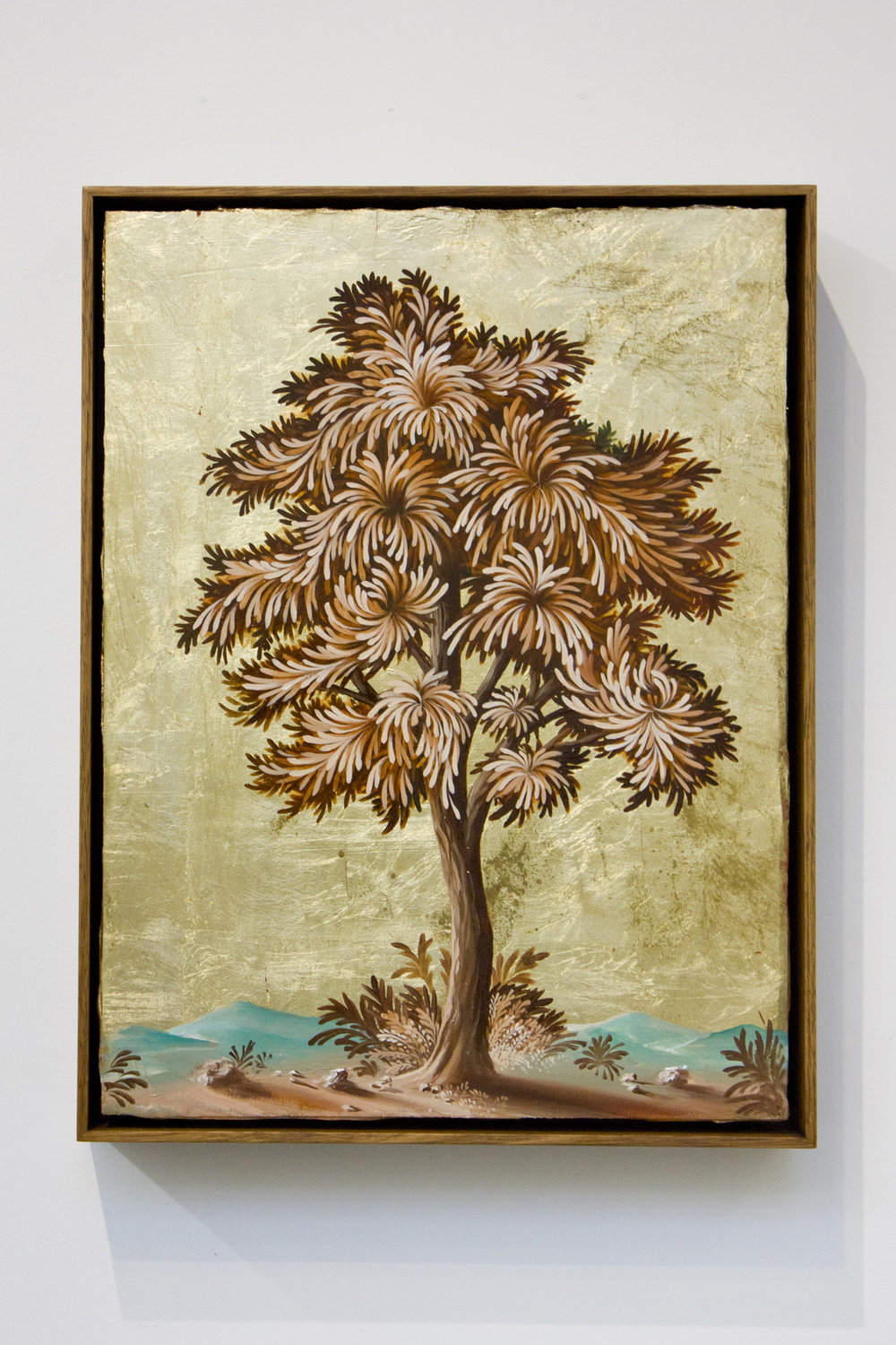 PETER DAVERINGTON   Portrait of a Tree #5  2017 Oil and gold leaf on panel 41 x 31 cm Frame: 43 x 33 cm