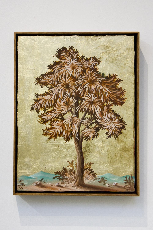 PETER DAVERINGTON   Portrait of a Tree #5  2017 Oil and gold leaf on panel 41 x 31 cm Frame: 43 x 33 cm