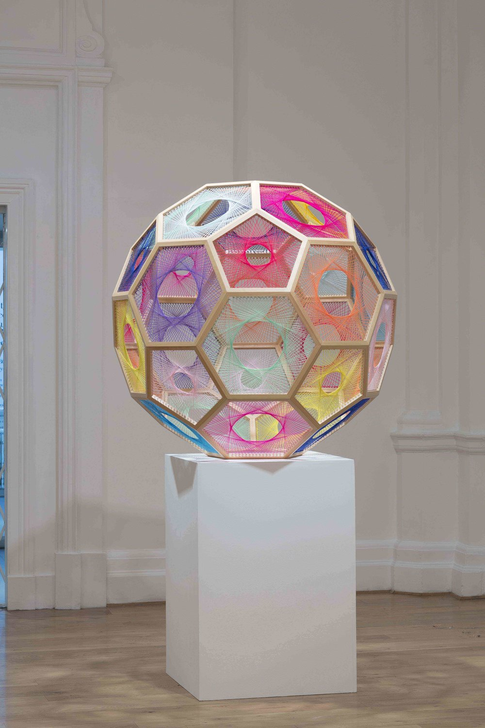 NIKE SAVVAS   Sliding Ladder: Truncated Icosahedron  2010 Wood, wool and steel 130 x 130 cm