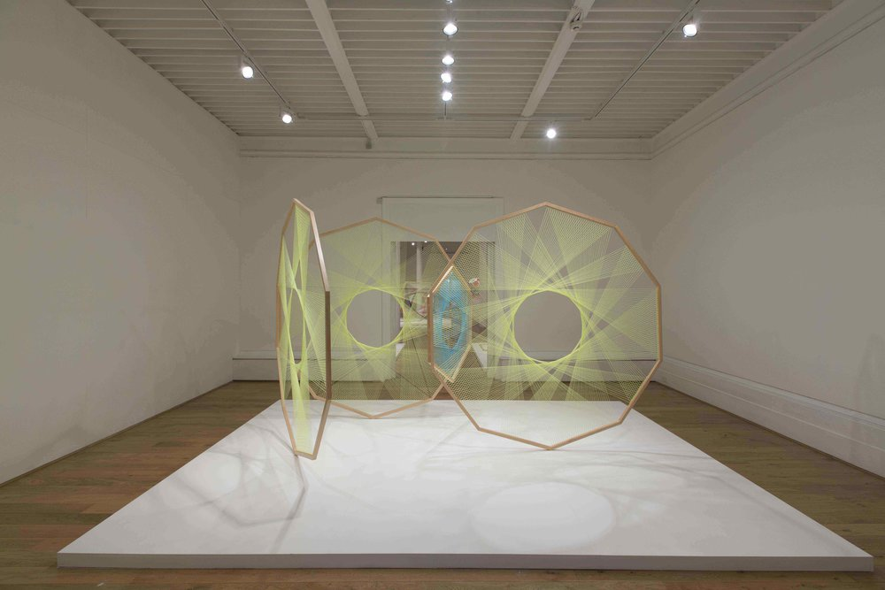 NIKE SAVVAS   Sliding Ladder: yellow with blue pentagon  2012 Wool, wood, steel 219 x 231.5 x 3.82 cm