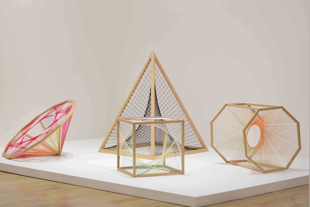 NIKE SAVVAS   Sliding Ladder: Dihexagonal #1, Sliding Ladder: Pyramid #2, Sliding ladder: Cube #1, Sliding ladder: Octagonal Prism #1  2010 Wood, wool, steel Dimensions variable