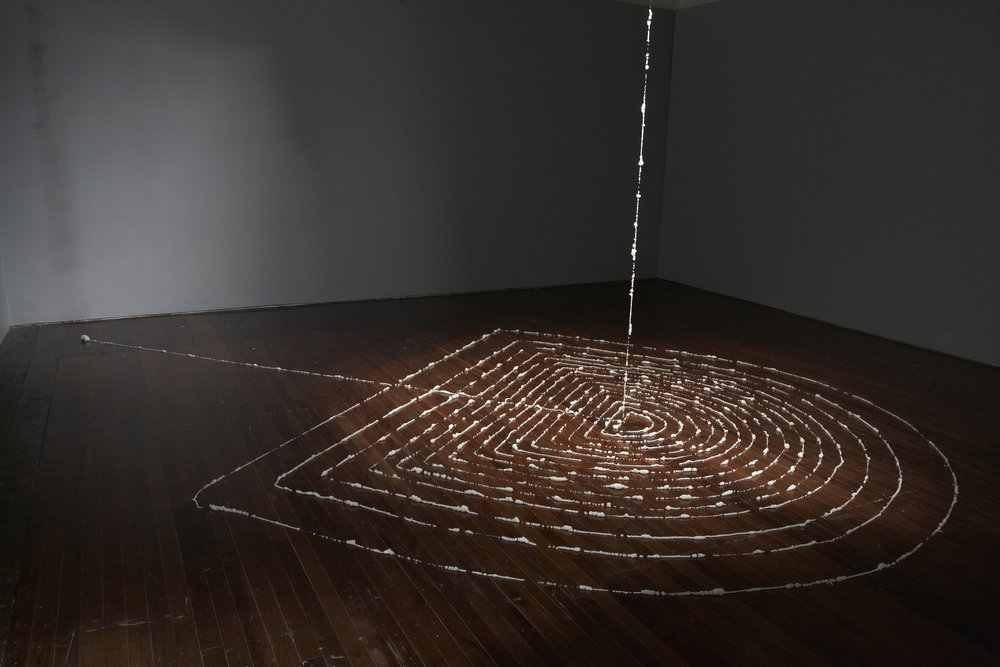 CYRUS TANG   Momentary Gleam  (Installation view) 2011 89 meters long human hair and crystal Dimensions variable
