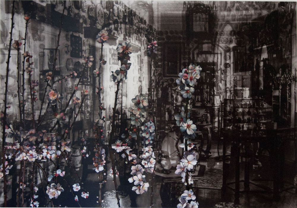 JOHN YOUNG   Marienbad  2012 Digital print and oil on canvas 185 x 270 cm