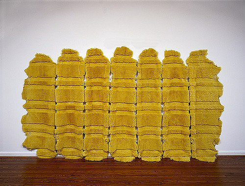 MARIA FERNANDA CARDOSO   Medium Yellow - Sheep 2002  Dyed sheep skins Dimensions variable