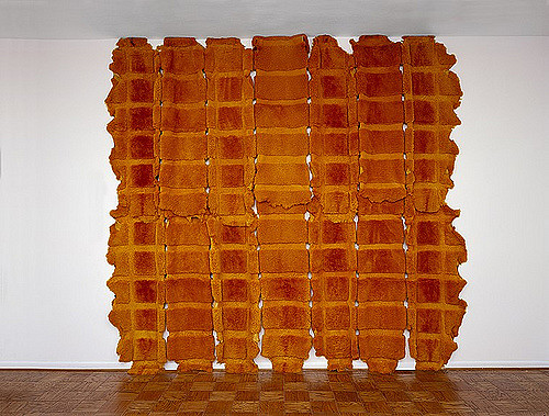 MARIA FERNANDA CARDOSO   Orange - Sheep 2002  Dyed sheep skins Dimensions variable