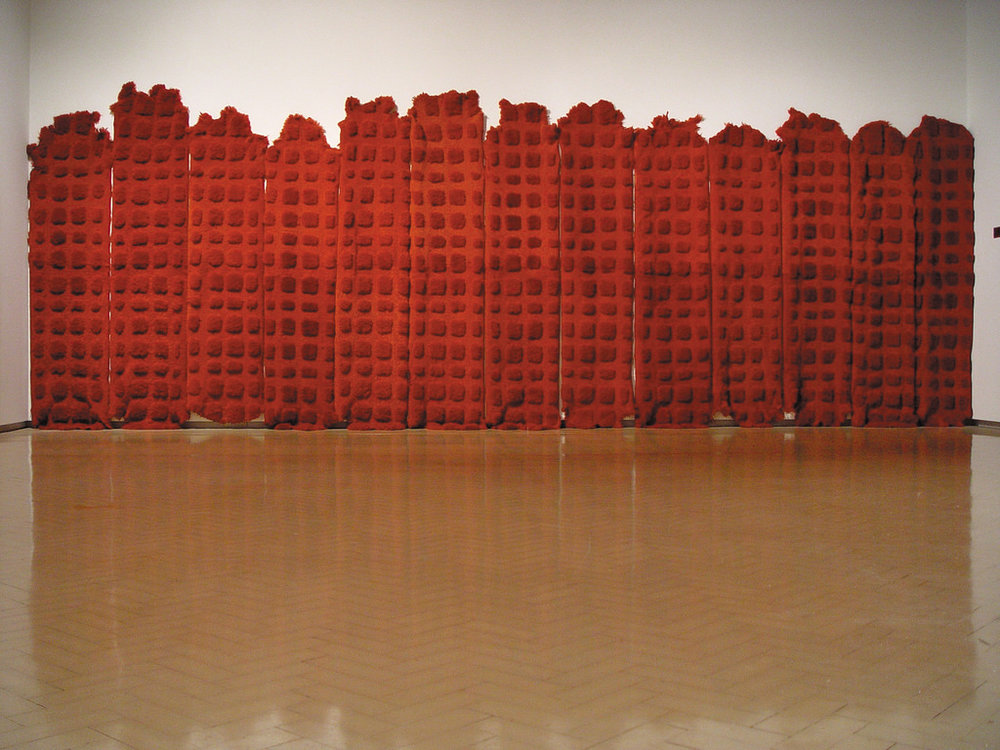 MARIA FERNANDA CARDOSO   Red - Sheep 2002  28 dyed sheep skins Dimensions variable