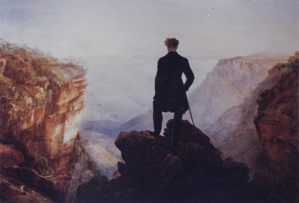 ANNE ZAHALKA   The Wanderer overlooking Jamieson Valley  1985 Pigment ink in rag paper 32 x 21.5cm