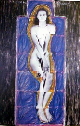 JULIE RRAP   Persona and Shadow: puberty  1984 Cibachrome print 194 x 105 cm
