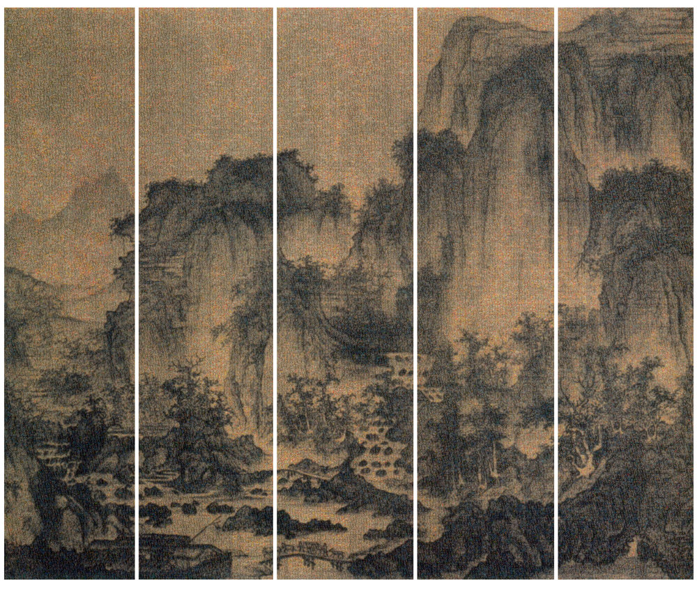 Guo Jian,  The Landscape No.3,  inkjet pigment print, 5 panels,   2016, 200 x 235 cm (overall).