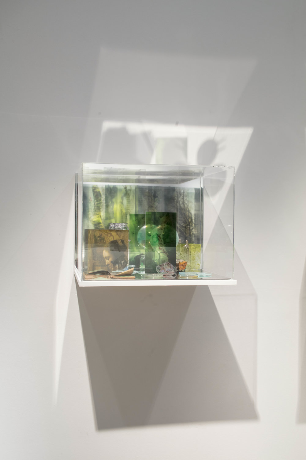 JANET LAURENCE   What Colour is the Sacred? (Green)  2018 Plywood, acrylic, mirror, details of Vermeer 'Woman reading a letter' c1663 printed on archival cotton rag, UV scan Rembrandt paint layers on duraclear, Oil glaze on acrylic, pigment, glass lenses, scientific glass, Malachite, notebook 45 x 60 x 45 cm