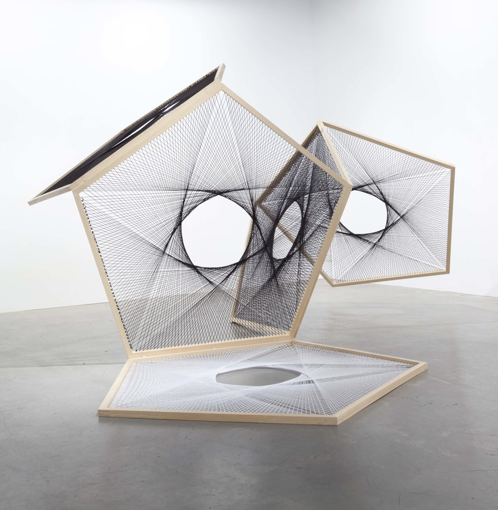 Nike Savvas, 'Sliding Ladder - Black with White Pentagon 1', 2012, wool, wood, steel, 155 x 260 x 250cm.