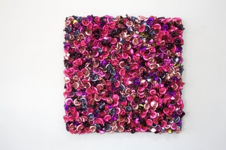 DANI MARTI   Fool's Paradise (Arrangement in mild roses, lies and steel)  2016 115 x 115 x 11 cm Customise corner cube reflectors, glass beads on powder coated aluminium, frame