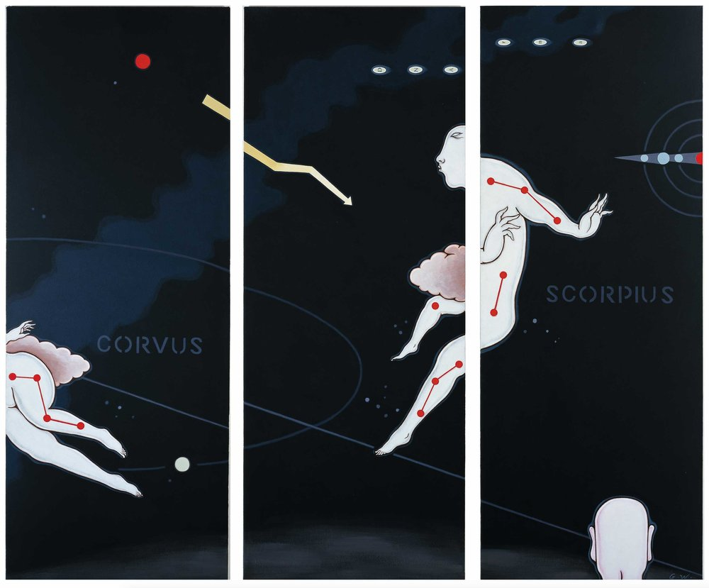 Guan Wei,  Gazing Into Deep Space #9 , 2000, acrylic on canvas, 127 x 159 cm (triptych).