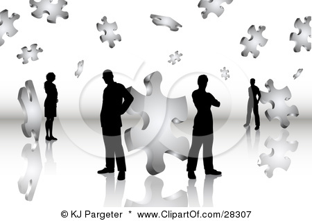 28307-Clipart-Illustration-Of-Black-Silhouetted-Business-Men-And-Women-Standing-On-A-Reflective-Surface-Surrounded-By-Puzzle-Pieces-Symbolizing-Problem-Solving-Teamwork-And-Solutions