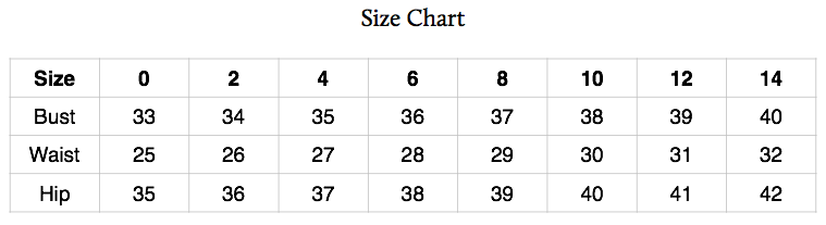 Please note that these are not the dimensions of the finished garment.