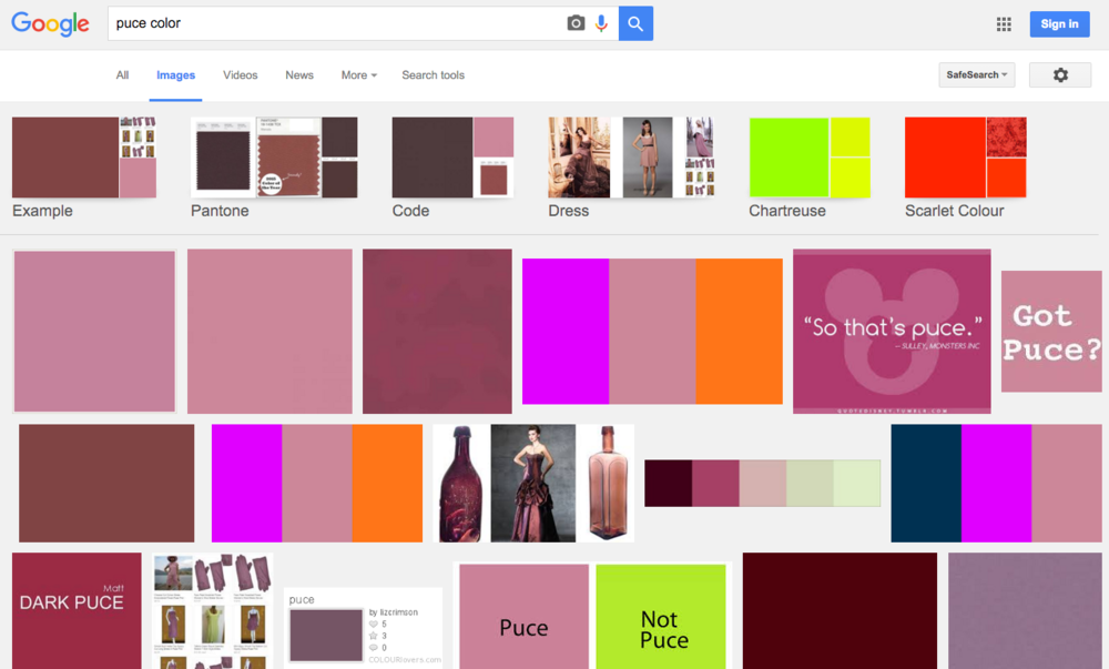 "Screenshot of search results for ""puce color"" tends to show a pinkish hue"