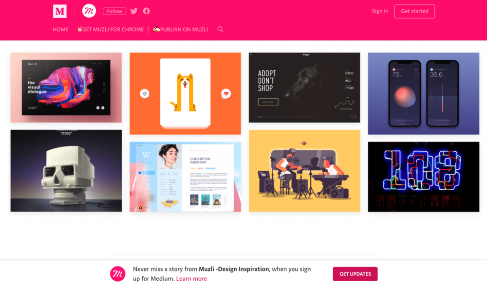 Muzli (By InVision) - What better way to get designers to use your product than by creating a design inspiration blog? InVision has got it figured out with their Muzli browser extension.