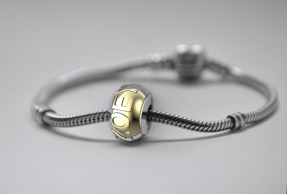Gold custom Pandora charm bracelet